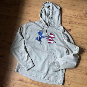men's tan american flag under armour hoodie